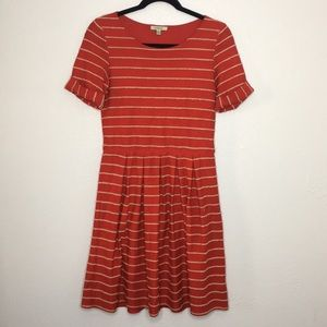 Bordeaux Anthropologie red scallop dress pleat M